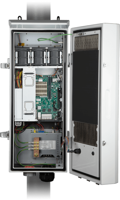 SYS-E403-9D-16C-IPD2 (front view, open w/ system cover removed)