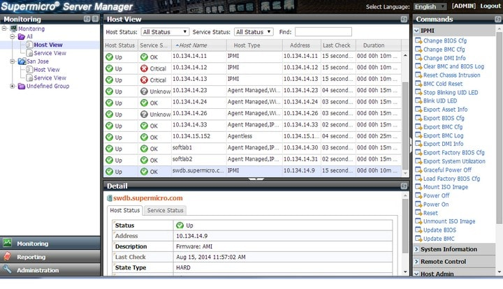 Supermicro Server Manager (SSM) Screenshot